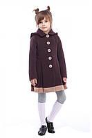 Красивое детское демисезонное пальто шоколадного цвета