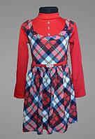 Детское платье, под горло, для девочки, в садик, школу, с длинным рукавом, 110, 116, 122, 128 размер