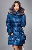 Синяя куртка с накладными большими карманами