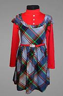 Платье детское, под горло, для девочки, в садик, школу, с длинным рукавом, 110, 116, 122, 128 размер