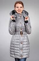 Зимняя женская молодежная куртка  нежного серого цвета