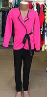 Пиджак  малиновый на девочку модельный с кожаным ремешком S, М, L, XL