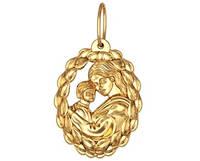 Ажурная золотая подвеска 585* пробы с рисунком матери