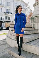 Стильное женское платье рубашка прямого фасона на пуговицах с длинным рукавом велюр на дайвинге