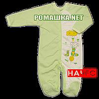 Человечек для новорожденного р. 68 с начесом ткань ФУТЕР 100% хлопок ТМ Алекс 3042 Зеленый1