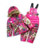 Детский зимний костюм для девочки. Комбинезон и куртка.