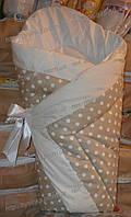 """Одеяло-конверт на выписку на липучке с красивым бантом (зимний), 90х90- """"Горох-зигзаг"""""""