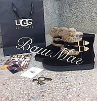 Женские замшевые угги UGG с мехом кролика