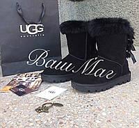 Женские замшевые угги UGG  с бантами черные