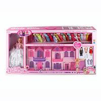 Детский кукольный домик 668-7, розовый, Barbie (31см), 3 фигурки для игры в домике, сменные наряды