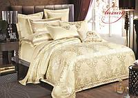 Жаккардовое постельное белье 1601 сатин-люкс 100% хлопок ТМ TIARE Украина евро комплект