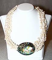 Ожерелье / Бусы  из Натурального ЖЕМЧУГА и ГЕЛИОТИСА