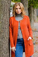 Стильный женский вязаный кардиган морковного цвета