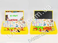 Доска для рисования, магнитные буквы, мел, губка, 2 цвета, в кор-ке