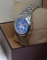 """Женские часы """"Michael Kors"""" серебристые с синим цыферблатом."""