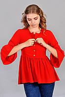 Оригинальная женская туника с рукавом 3/4 красного цвета