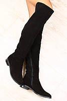 Ботфорты женские черные замшевые без каблука демисезонные и зима