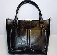 Женская кожанная сумка черного цвета