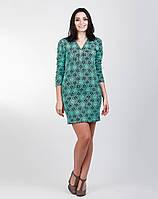 Стильное женское платье из ткани букле мятного цвета