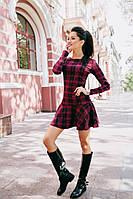 Платье в клетку с расклешенной юбкой 03/357