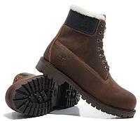 Мужские зимние ботинки Classic Timberland 6 inch Brown Winter (Тимберленд) с мехом коричневые