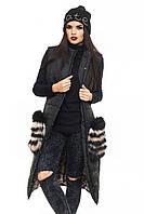 Стеганный черный  жилет с меховыми карманами из песца Полина 44-52 размеры