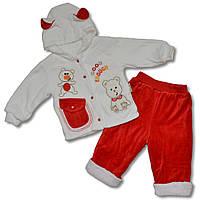 Теплый велюровый костюм на девочку, 9, 12 месяцев, Турция