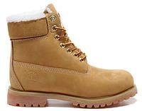 Мужские зимние ботинки Classic Timberland 6 inch Yellow Winter (Тимберленд) с мехом