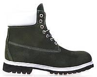 Мужские зимние ботинки  Timberland 6 inch Green (Тимберленд) с мехом зеленые