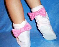 Тапочки белые с розовыми бантами Флис
