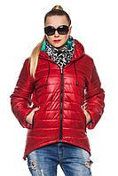 Демисезонная женская красная парка Амина 44-52 размеры