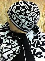 Комплект мужской шапка +широкий шарф