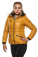 Яркая женская осенняя куртка Анжелика горчица 40-54 размеры