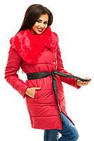 Женская куртка приталенного фасона под пояс с отложным меховым воротником плащевка на синтепоне