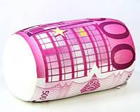 Антистрессовая подушка-игрушка валик Валютный  500 евро 37х19