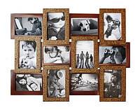 Фоторамка мультирамка деревянная Шоколад на 12 фотографий