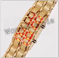Электронные часы Led Iron Samurai Gold красный светодиод