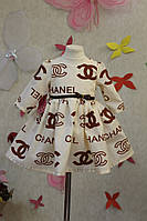 Модное платье на девочку Шанель с пышной юбкой под пояс