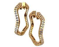 Необычные золотые серьги несимметричной формы 585* пробы