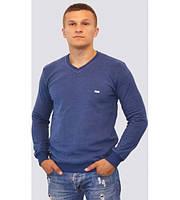 Мужской тёплый однотонный свитер синего цвета