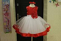 Красивое пышное платье на девочку с бусинами и бантом на поясе