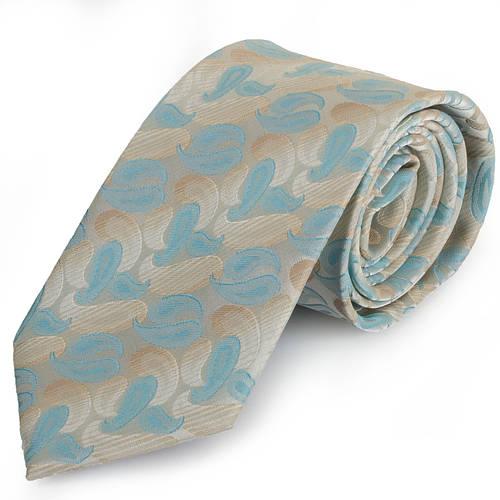 Неординарный мужской широкий галстук SCHONAU & HOUCKEN (ШЕНАУ & ХОЙКЕН) FAREPS-08 бирюзовый