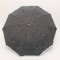 Зонт складной полуавтомат черный в горошек