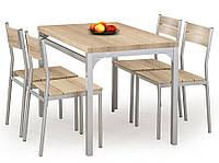Столовый комплект Halmar Malcolm (стол + 4 стула) дуб сонома