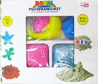 Кинетический песок для моделирования 13-600 (600 гр в коробке + 6 формочек/микс 2 цвета)