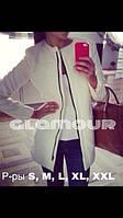 Женское белое пальто с черный молнией НОРМА