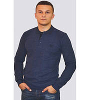 Модный мужской свитер с воротником тёмно-синего цвета