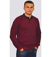 Модный мужской свитер с воротником бордового цвета