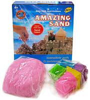Кинетический песок для моделирования 14-500 (500 гр в коробке + 6 формочек/микс 4 цвета)