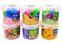 Кинетический песок для моделирования 15-1000 (1000 гр в ведре + 6 формочек/микс 5 цветов)